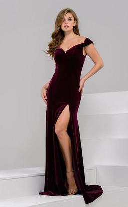 Jovani - 50327 Off-Shoulder/Sweetheart Velvet Dress $640 thestylecure.com