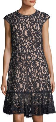 Nanette Lepore Nanette Flounce-Hem Lace Dress
