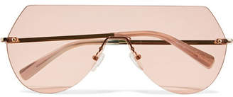 Elizabeth and James Johnston D-frame Pale Gold-tone Sunglasses