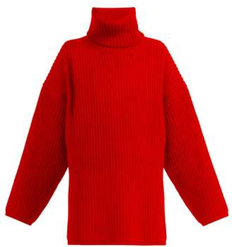 Acne Studios Ribbed Knit Roll Neck Wool Sweater - Womens - Red