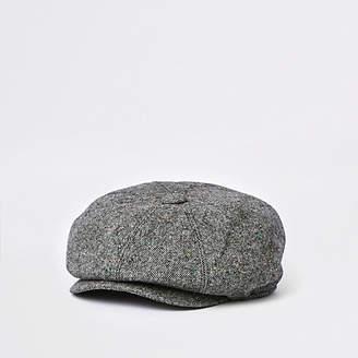 River Island Grey baker boy hat