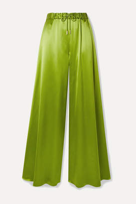 Brandon Maxwell Silk-charmeuse Wide-leg Pants - Leaf green