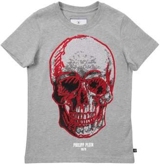 Philipp Plein Junior Skull Embellished Cotton Jersey T-Shirt