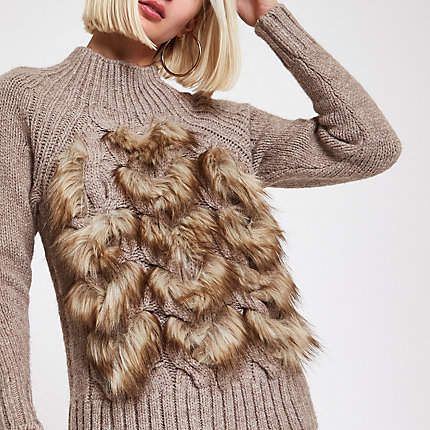 Womens Brown faux fur front knit jumper