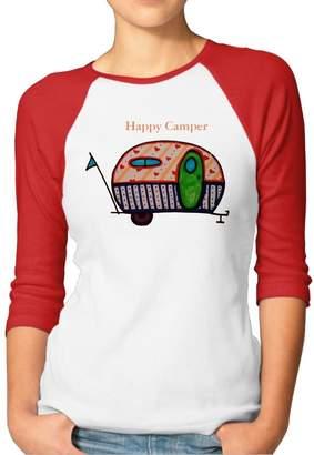 Camper JTCY Happy Women's 3/4 Sleeve Jersey Shirt Baseball Tee Raglan T-Shirts S