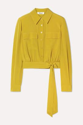 Diane von Furstenberg Everlynn Belted Silk Crepe De Chine Shirt - Marigold