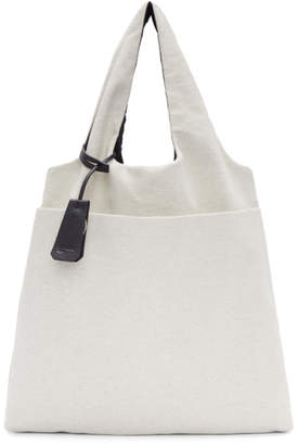 Jil Sander Navy Reversible Navy and Off-White Canvas Tote