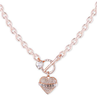 "GUESS Rose Gold-Tone Crystal Logo Heart Charm 18"" Link Necklace"