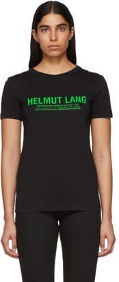 Helmut Lang SSENSE Exclusive Black and Green Logo T-Shirt