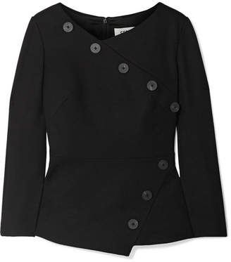 Cefinn - Button-embellished Stretch-crepe Top - Black