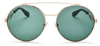 Givenchy Women's Double Brow Bar Oversized Round Polarized Sunglasses, 60mm