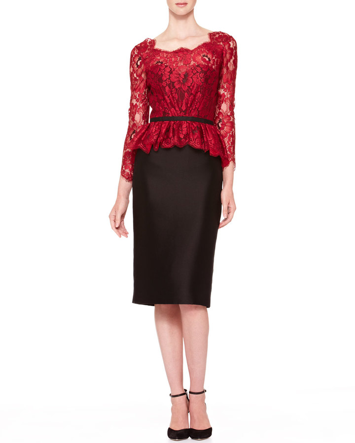 Carolina Herrera Floral Lace Tie-Back Dress, Red/Black