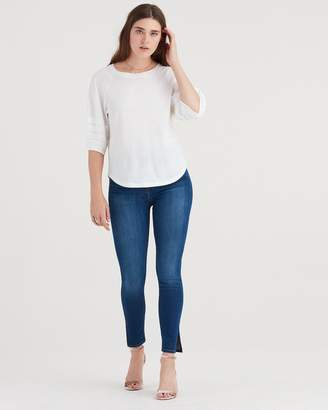 7 For All Mankind b(air) Denim Aubrey Super High Waist Ankle Skinny with Side Splits in Fresh Rinse