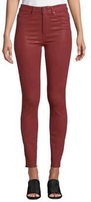 Paige Hoxton Raw-Hem Coated Skinny Jeans