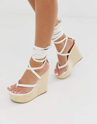 fab262ba07 Asos Design DESIGN Tribute thong tie leg wedges