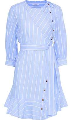 Derek Lam 10 Crosby Terry-Trimmed Striped Cotton-Blend Mini Dress