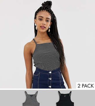 New Look two pack square neck vest in black and stripe