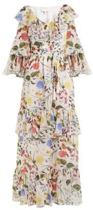 Margaux Borgo De Nor Garden Print Silk Dress - Womens - White Print
