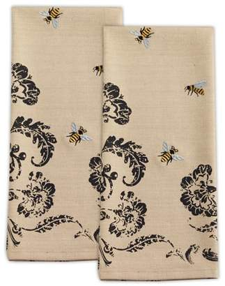"""Design Imports Busy Bees Embroidered Kitchen Dishtowel Set, Set of 2, 18""""X28"""", 100% Cotton, Multiple Colors"""