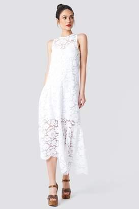 Na Kd Boho Asymmetric Flounce Lace Dress White