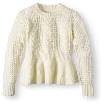 b6bb47f565c Derek Heart Pearl Peplum Cable Pullover Sweater (Big Girls)
