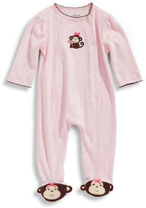 Little Me Infant Girls Monkey Footed Onesie