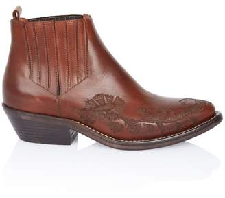Etro Embossed Leather Western Ankle Boot