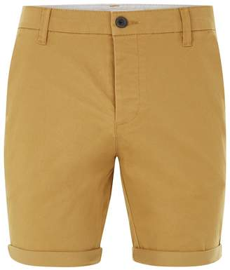 Topman Mustard Stretch Skinny Chino Shorts