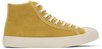 YMC Yellow Suede Wing Tip High-Top Sneakers