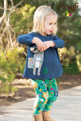 Frugi Girls Organic Tunic And Leggings Set With Leopard Leggings - Blue
