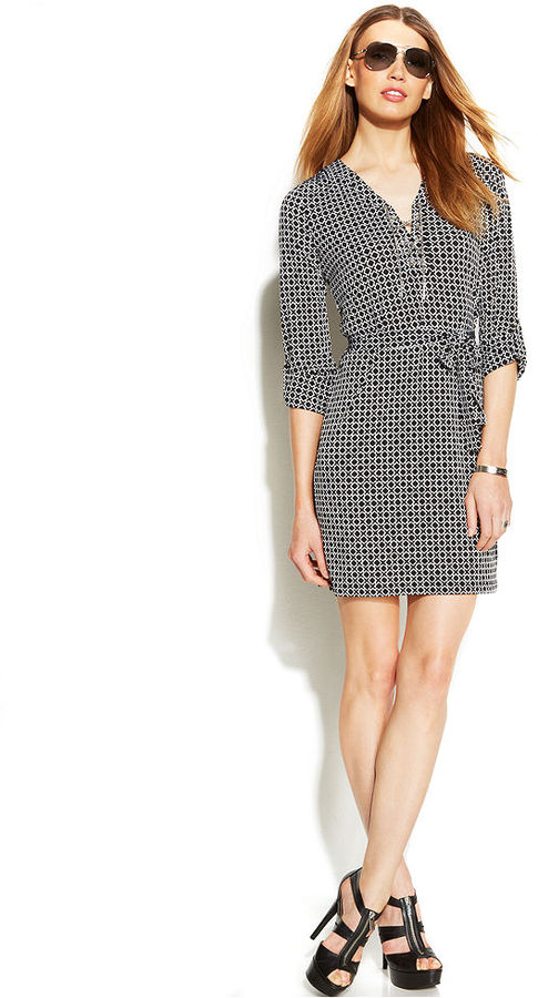 MICHAEL Michael Kors Geo-Print Lace-Up Shirtdress