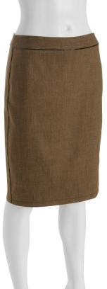 Yoana Baraschi tan wool tweed 'Dita' pencil skirt