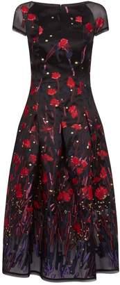 Talbot Runhof Poppy Print Midi Dress