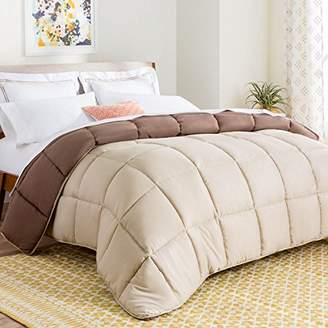 Linenspa All-Season Reversible Down Alternative Quilted Comforter - Hypoallergenic - Plush Microfiber Fill - Machine Washable - Duvet Insert or Stand-Alone Comforter - Sand/Mocha - Oversized King