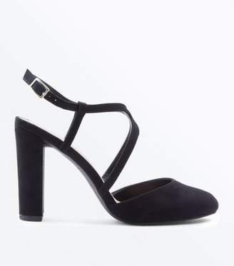 New Look Wide Fit Black Suedette Round Toe Block Heels