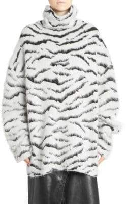 Givenchy Oversized Wool-Blend Zebra Turtleneck