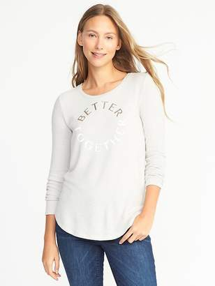 Old Navy Relaxed Brushed-Knit Graphic Top for Women