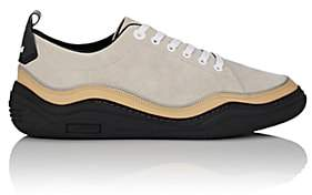 Lanvin MEN'S LEATHER-WRAPPED SUEDE SNEAKERS-IVORY SIZE 11 M