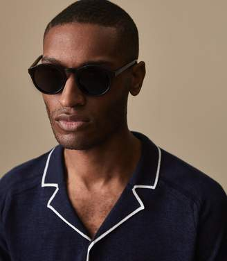 Reiss ORDER BY MIDNIGHT DEC 15TH FOR CHRISTMAS DELIVERY ACRE Cuban collar knit Indigo