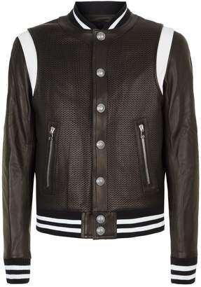 df85da2faa5 ... Balmain Leather Bomber Jacket