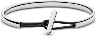 Skagen Anette Stainless Steel and Leather Bangle Bracelet