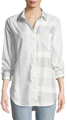 Parker Smith Ashton Long-Sleeve Button-Front Mixed-Stripe Pocket Shirt