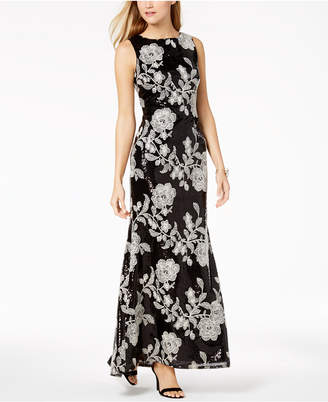 Vince Camuto Embellished Embroidered Gown