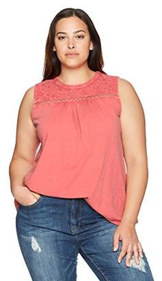 Lucky Brand Women's Plus Size Embroidered Tank TOP