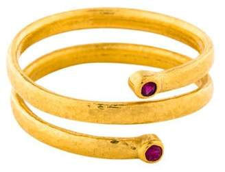Gurhan 24K Ruby Hammered Spiral Band yellow 24K Ruby Hammered Spiral Band