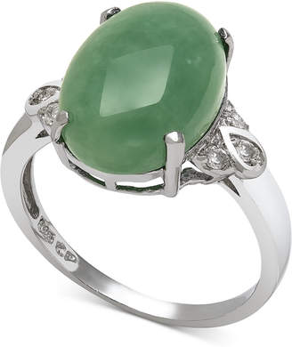 Macy's Dyed Jade (10mm) and Diamond (1/10 ct. t.w.) Ring in Sterling Silver