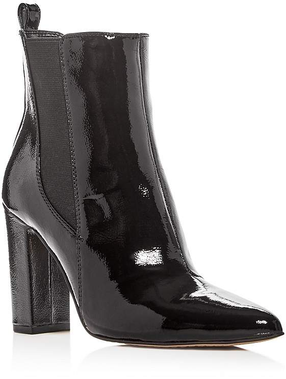 VINCE CAMUTO Women's Britsy Patent Leather High Block Heel Booties