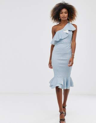 Asos Design DESIGN ruffle one shoulder midi dress with grosgrain straps in polka dot