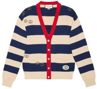 Gucci Embroidered striped knit cardigan