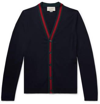Gucci Slim-Fit Webbing-Trimmed Wool Cardigan
